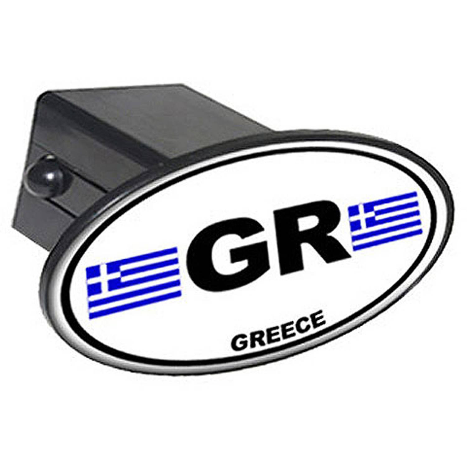 "Gr Greece Country Euro Auto Oval 2"" Oval Tow Trailer Hitch Cover Plug Insert"