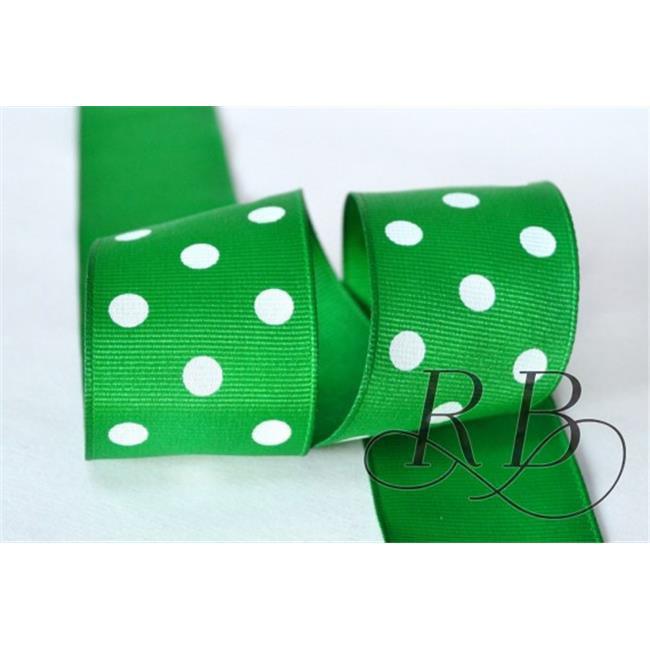 Ribbon Bazaar 5520 1.5 in. Grosgrain Polka Dots Ribbon, Emerald - 25 Yards