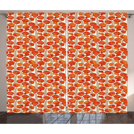 Floral Curtains 2 Panels Set, Art Nouveau Style Poppy Flowers Retro Spring Summer Garden Foliage Petals, Window Drapes for Living Room Bedroom, 108W X 108L Inches, Vermilion Brown Cream, by Ambesonne