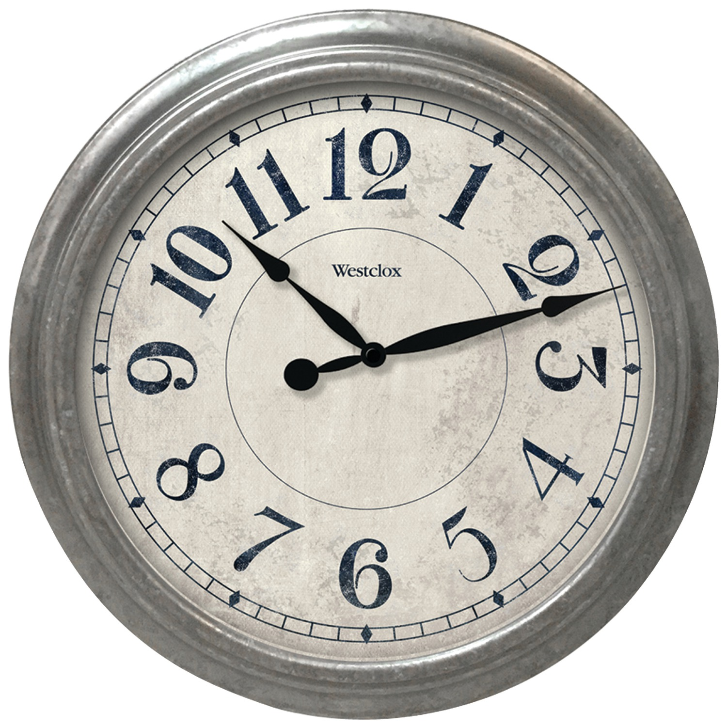 "Westclox 32931 15.5"" Round Galvanized Finish Gray Wall Clock"