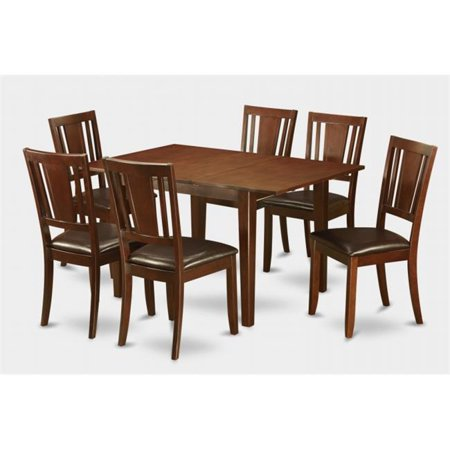 East West Furniture MLDU7-MAH-LC Milan 7PC Set with Rectangular Table featured 12 in butterfly leaf and 6 Dudley Faux Leather seat chairs (Butterfly Table Chair Set)