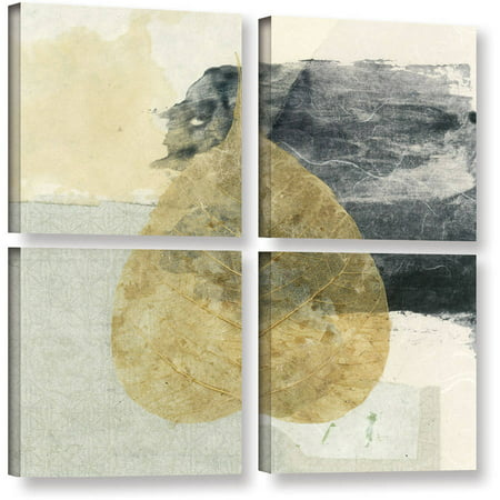 Artwall Elena Ray   Wabi Sabi Bodhi Leaf Collage 3   4 Piece Gallery Wrapped Canvas Square Set