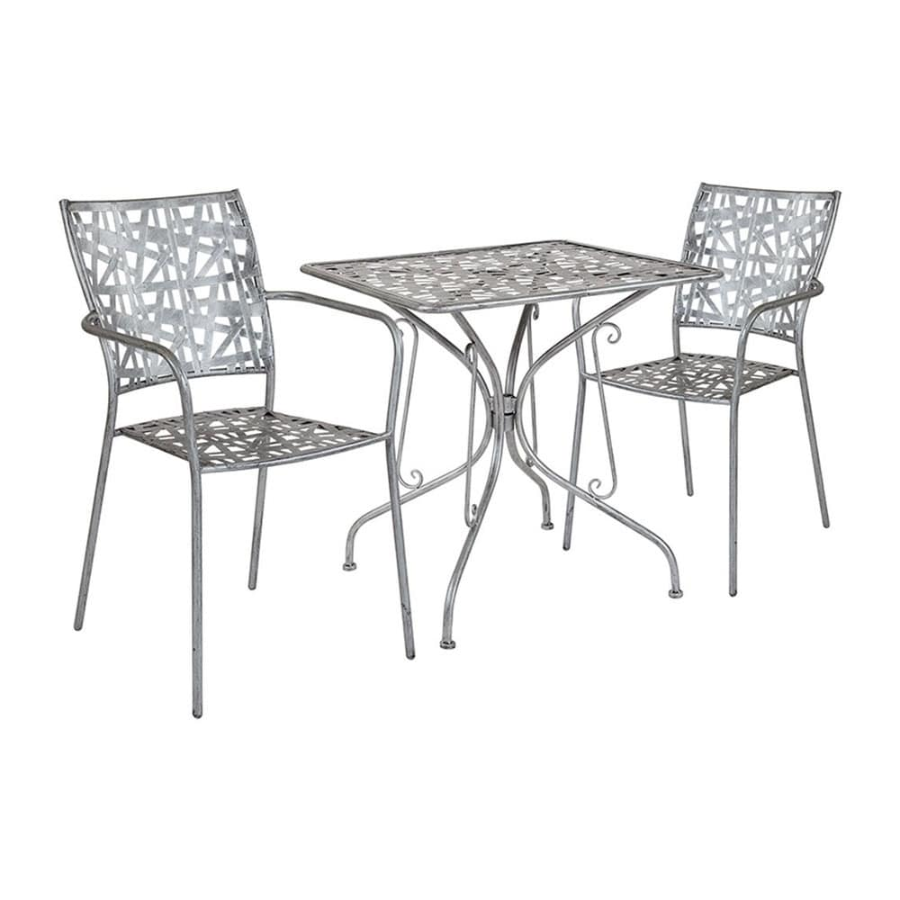"""Offex  27.5"""" Square Antique Silver Indoor Outdoor Steel Patio Table with 2 Stack Chairs"""