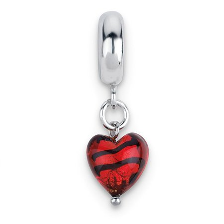 Solid 925 Sterling Silver Heart Reflections Red with Stripes Hrt Ital. Murano Dangle Bead (9.1mm x 27.3mm)