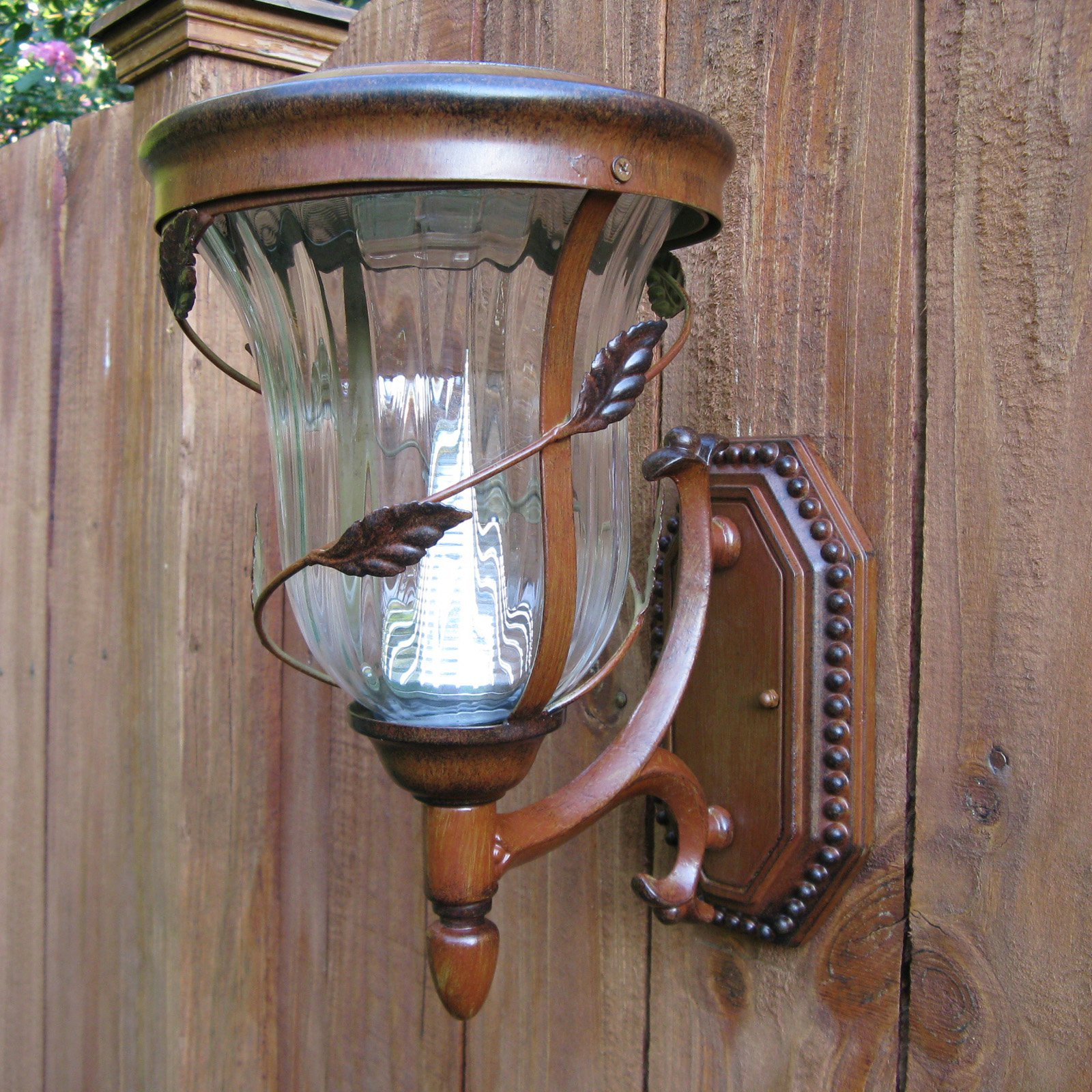 Gama Sonic Flora Solar LED Light Fixture on Wall Sconce
