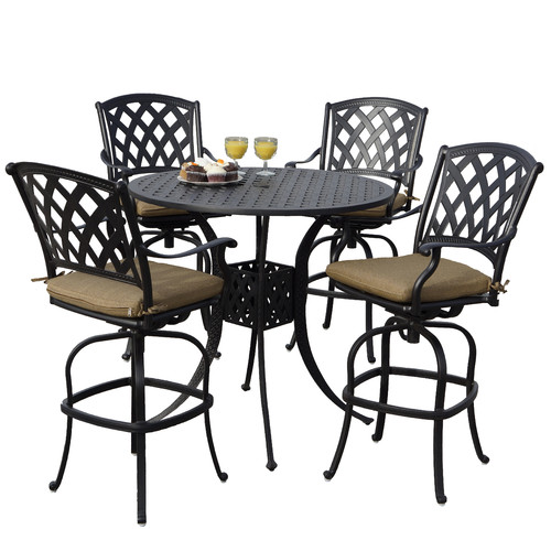 Fleur De Lis Living Campton 5 Piece Bar Height Dining Set with Cushions