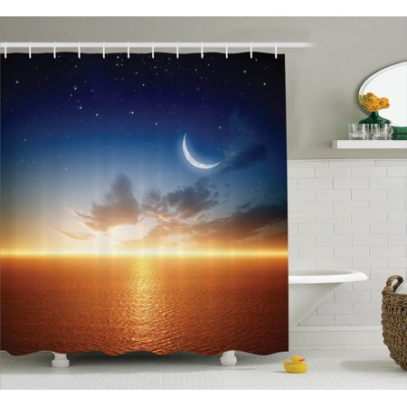 Ocean Decor Sunset Sky With Moon And Stars Glowing Horizon Scenery