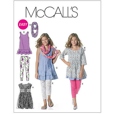 McCall's Pattern Girls' and Girls' Plus Dresses, Scarf and Leggings, Plus (10.5, 12.5, 14.5, 16.5) for $<!---->