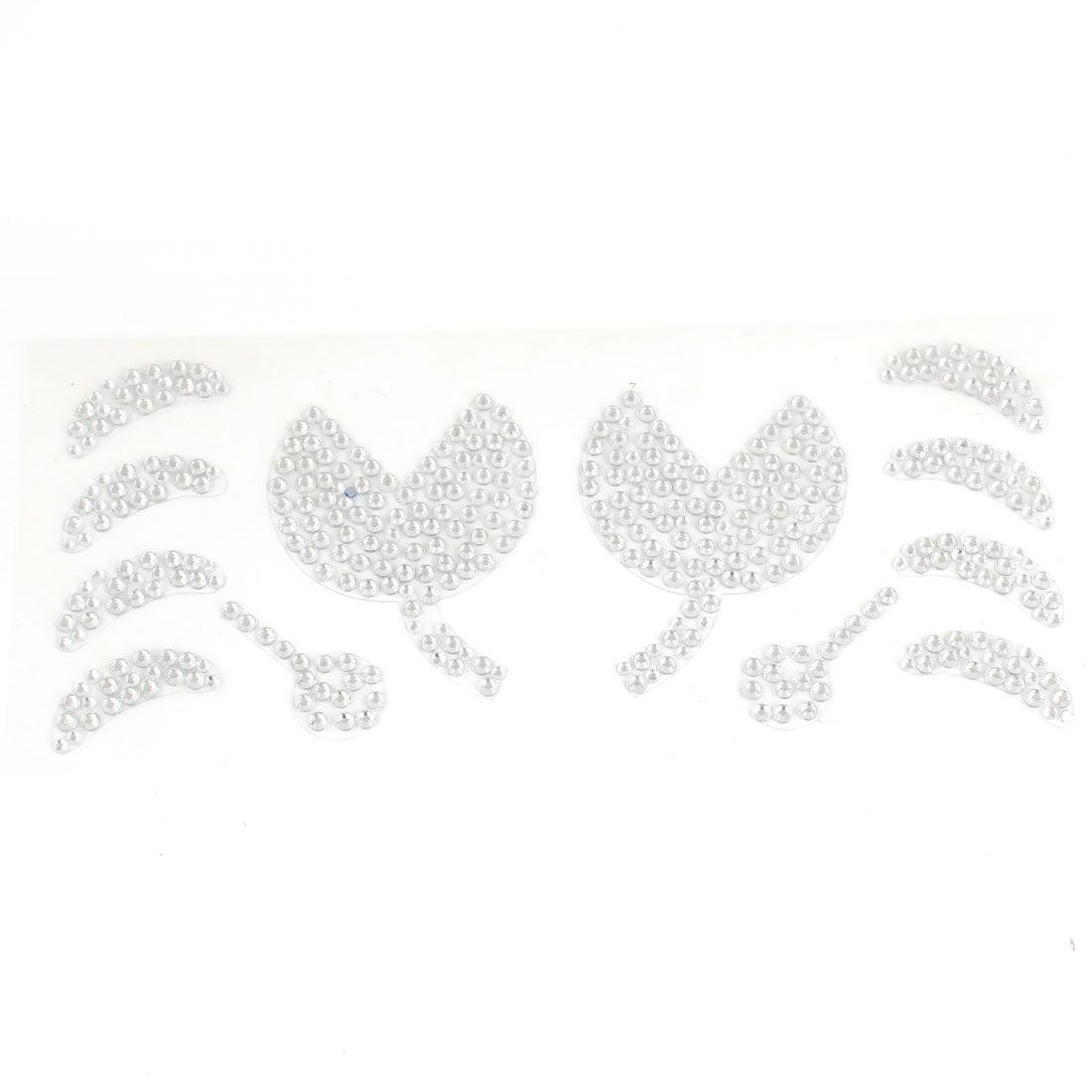 Unique Bargains Silver Tone Rhinestones Floral Leaf Pattern Vehicles Decal Sticker Decor 12 in 1