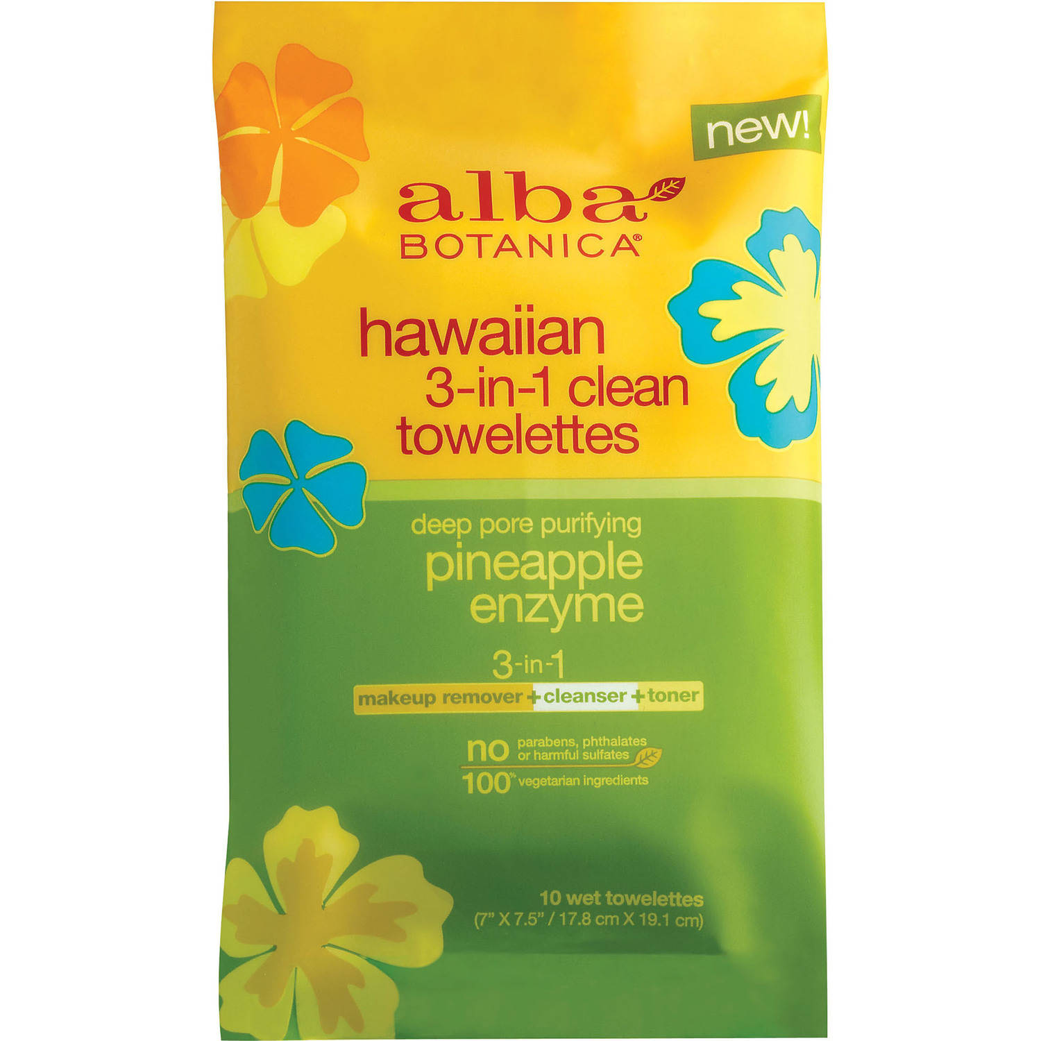 Alba Botanica Hawaiian 3-in-1 Clean Towelettes, 10 sheets