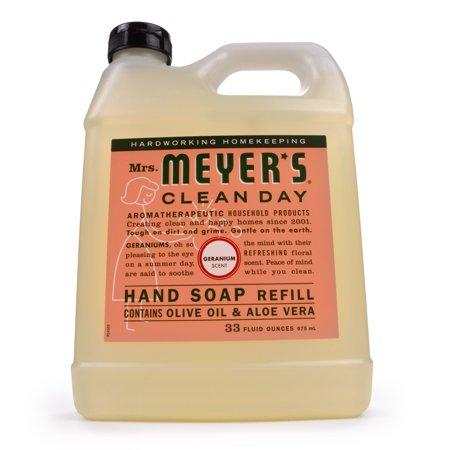 (2 Pack) Mrs. Meyer's Clean Day Liquid Hand Soap Refill, Geranium, 33 Oz