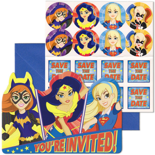 DC Superhero Girls Birthday Girl Party Invitation 16 Count Save the Date Stickers