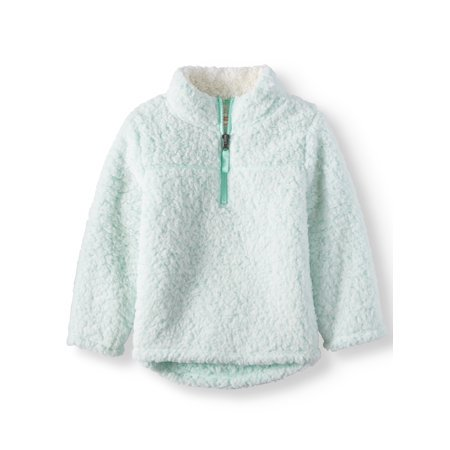 Mock Neck Quarter Zip Boucle Lined Sherpa Jacket (Toddler Girls) - Toddler Fake Leather Jacket
