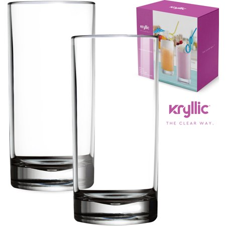 Plastic Tumbler Cups Drinking Glasses - Acrylic Highball Tumblers Set of 2 Clear 16 oz Unbreakable Reusable Kitchen Drinkware Dishwasher Safe Bpa Free Hard Rocks Glass Drink Cup for Wine Water Juice