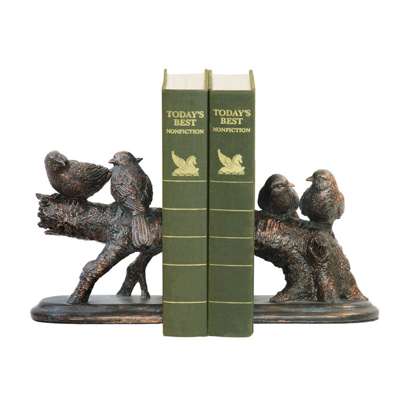 2 Pc Continuing Branch with Birds Resting on Top Bookend Set