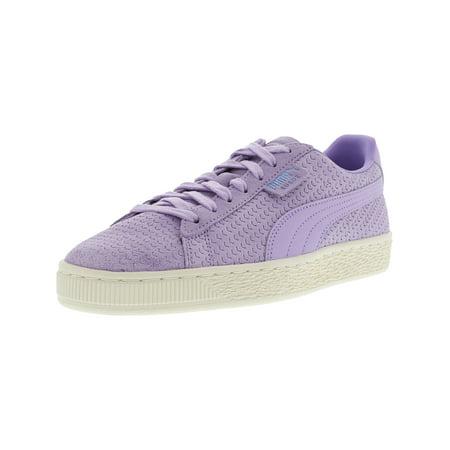 Puma Women's Suede Classic Perforati Purple Rose / Whisper White Ankle-High Fashion Sneaker -