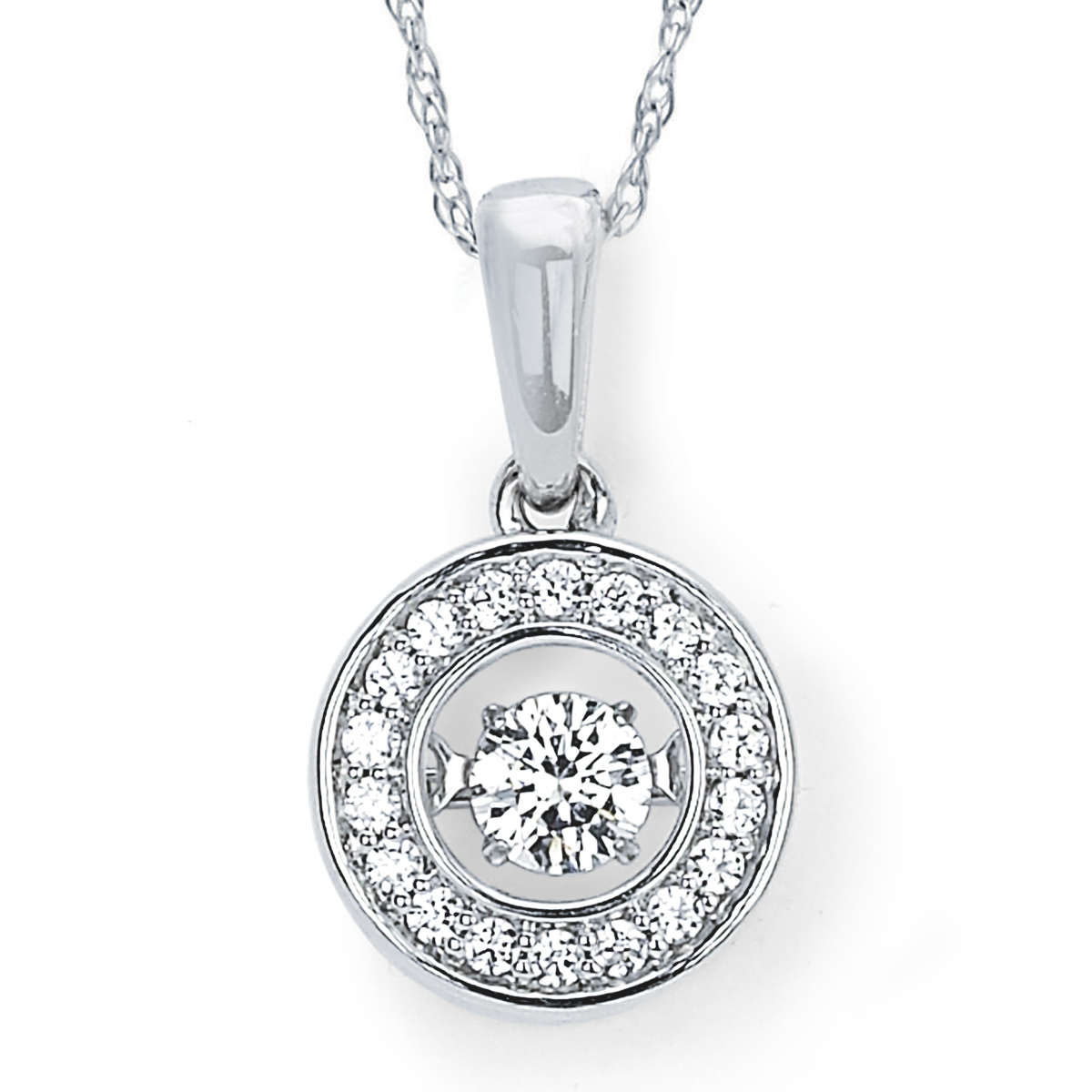 Brilliance in Motion 14K White Gold 1 4 Ctw. Dancing Diamond Halo Circle Pendant Necklace (I, I1) by Boston Bay Diamonds