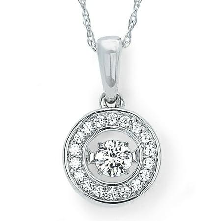 14K White Gold 1/4 Ctw. Dancing Diamond Halo Circle Pendant Necklace (I, I1)