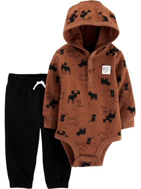 Child of Mine by Carter's Baby Boy Hooded Long Sleeve Bodysuit and Pant Outfit Set, 2 pc set