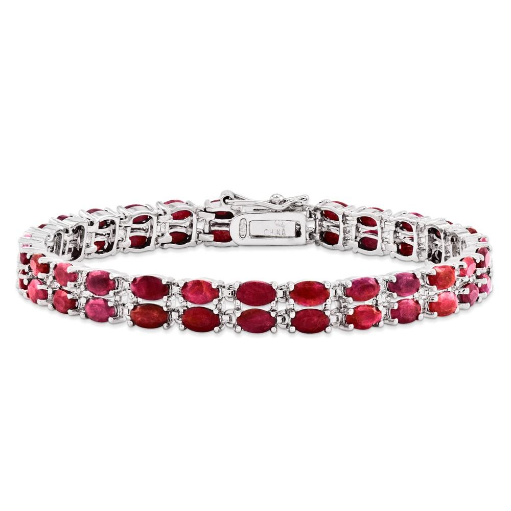 925 Sterling Silver Double Row Ruby Tennis Bracelet