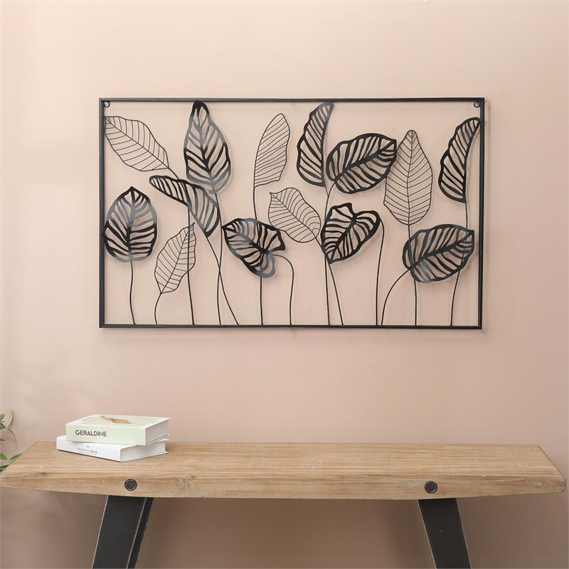 Metal Framed Horizontal Leaf Wall Decor - Walmart.com
