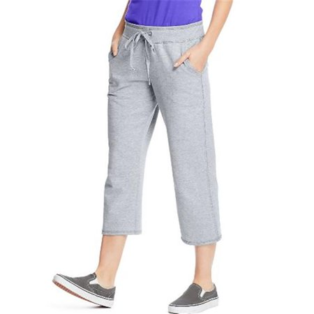 O4679 Womens French Terry Pocket Capri Pant, Light Steel - Extra