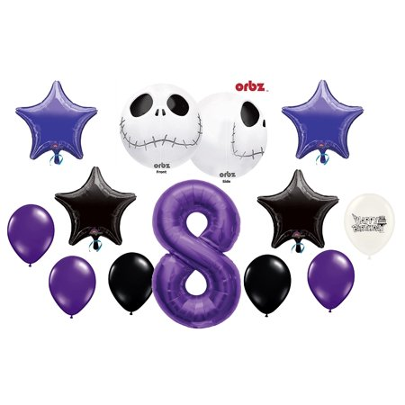 8th Birthday Party Jack Skellington Nightmare Before Christmas Balloon Bouquet](Union Jack Balloons)