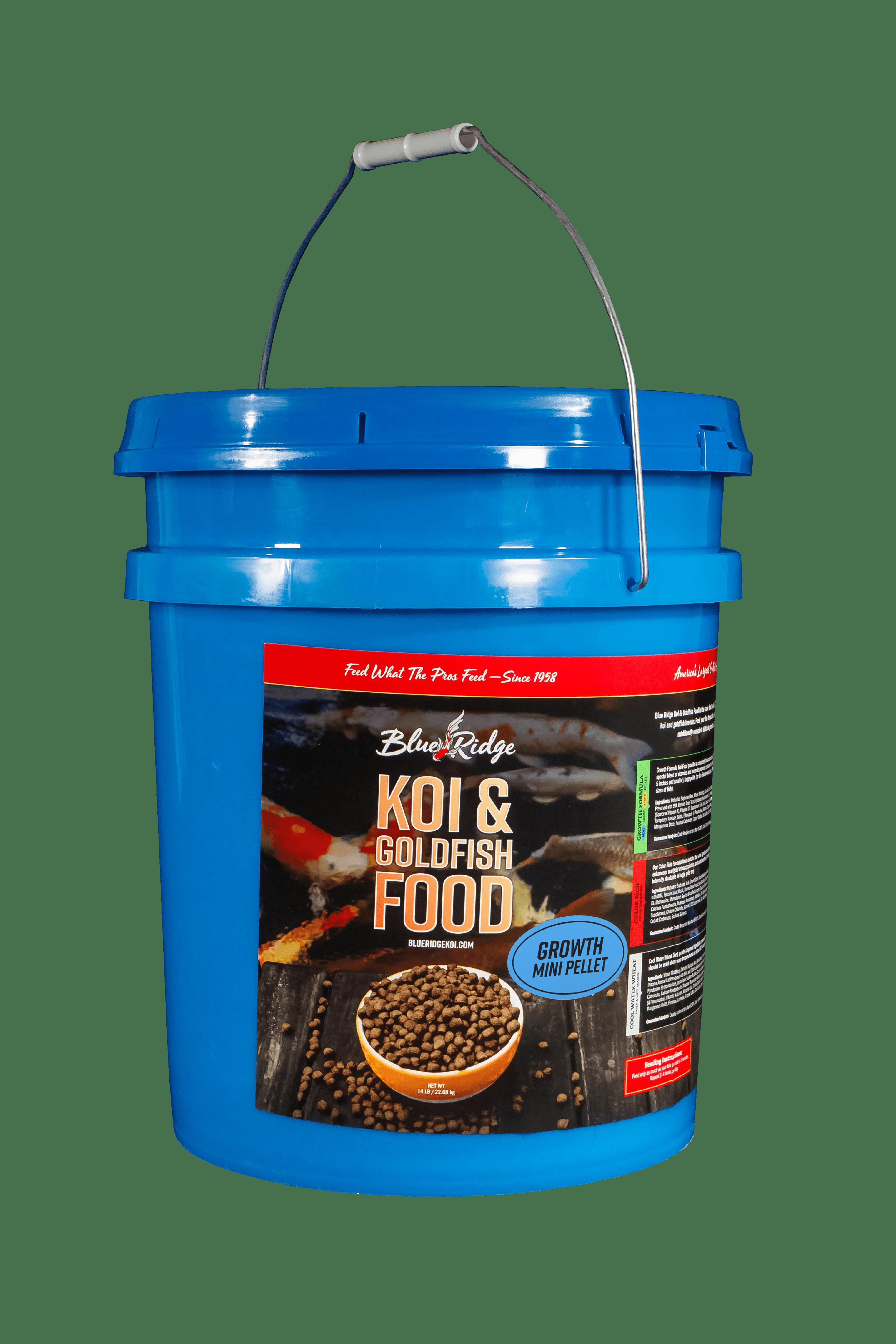 Blue Ridge Growth Formula Koi & Goldfish Food, Mini Fish Food Pellets, 14 lb by Blue Ridge Koi & Goldfish