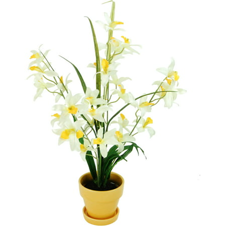 Dendrobium Orchids in a Yellow Flower Pot with Faux Dirt