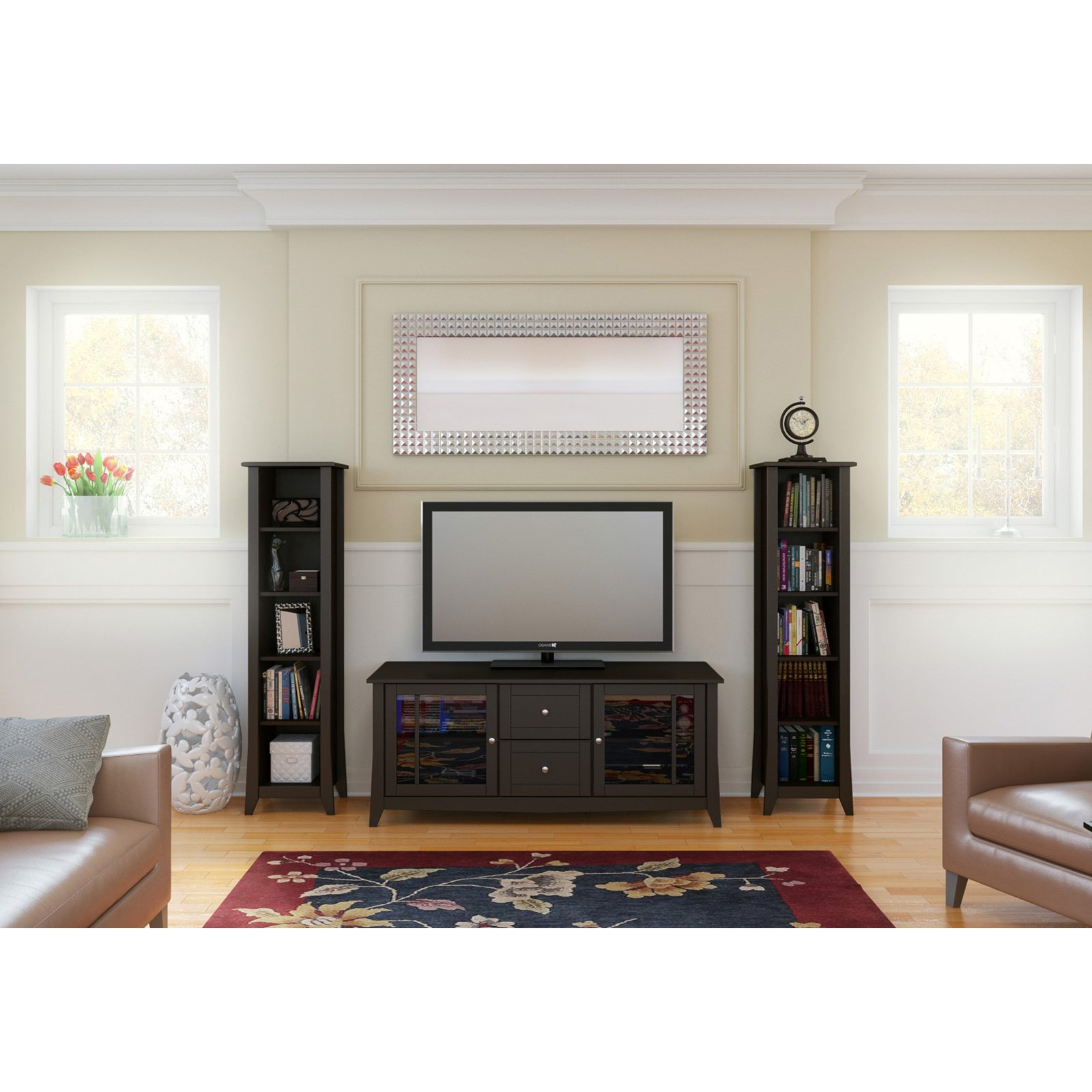 Elegance 58 in. TV Console with Bookcase