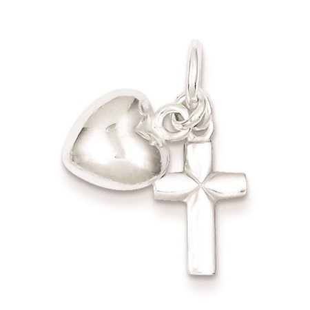 925 Sterling Silver Cross with Heart Solid Charm Pendant