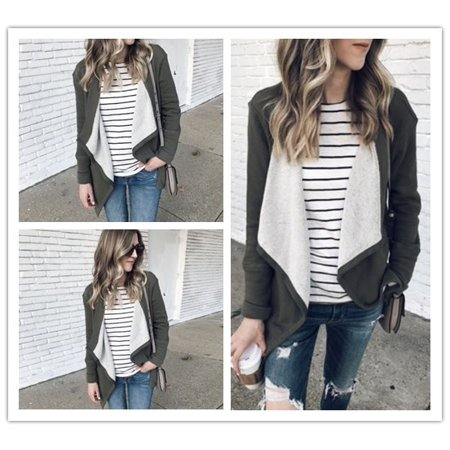 Fashion Women Faux Suede Winter Warm Long Sleeve Casual Solid Color Jacket Cardigan Top Outwear