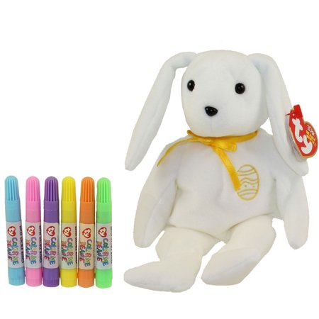 TY Beanie Baby - COLOR ME BUNNY w/ markers (Gold Ribbon & Egg) (7.5 inch)