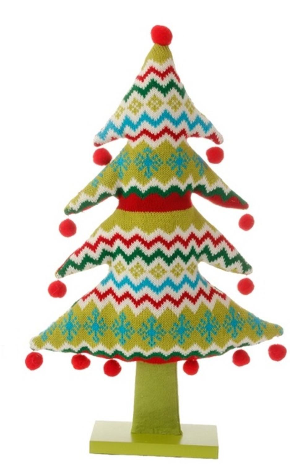 19 merry bright plush knit snowflake and chevron christmas tree table top decoration