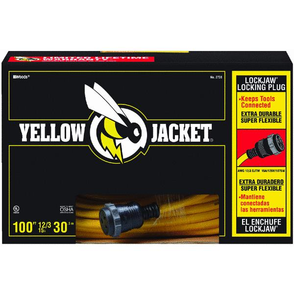 Yellow Jacket 2738 12/3 Heavy-Duty 15-Amp SJTW Contractor Extension Cord, Locking, 100'