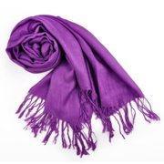 TopTie Scarf Wrap With Tassel Ends, Solid Color / Tow-Tone Color, Gift Idea-Purple