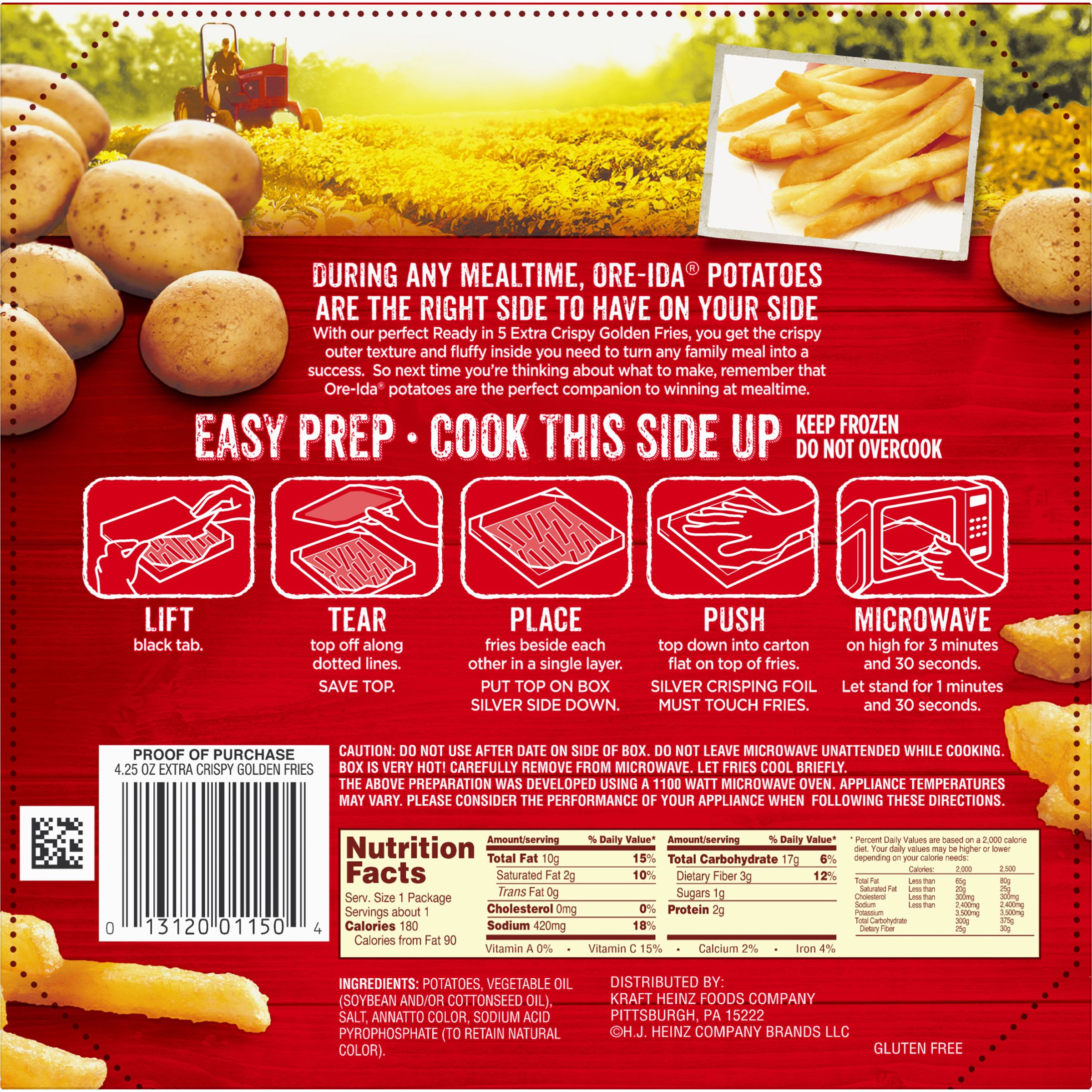 Ore Ida Easy Fries Extra Crispy Golden 4 25 Oz Box