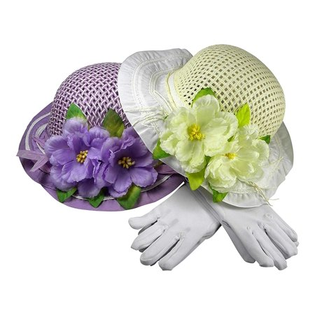 Girls Tea Party Dress Up Play Set For Two With Sun Hats and White Gloves - Purple and Ivory](Tea Party Hats And Gloves)