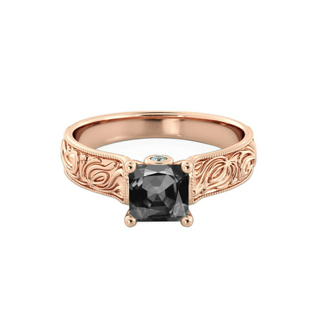 14K Rose Gold 1.06 CTW Black Diamond Ring with Diamonds Vintage Hand Engraved Art Deco Antique Art Deco Diamond Ring