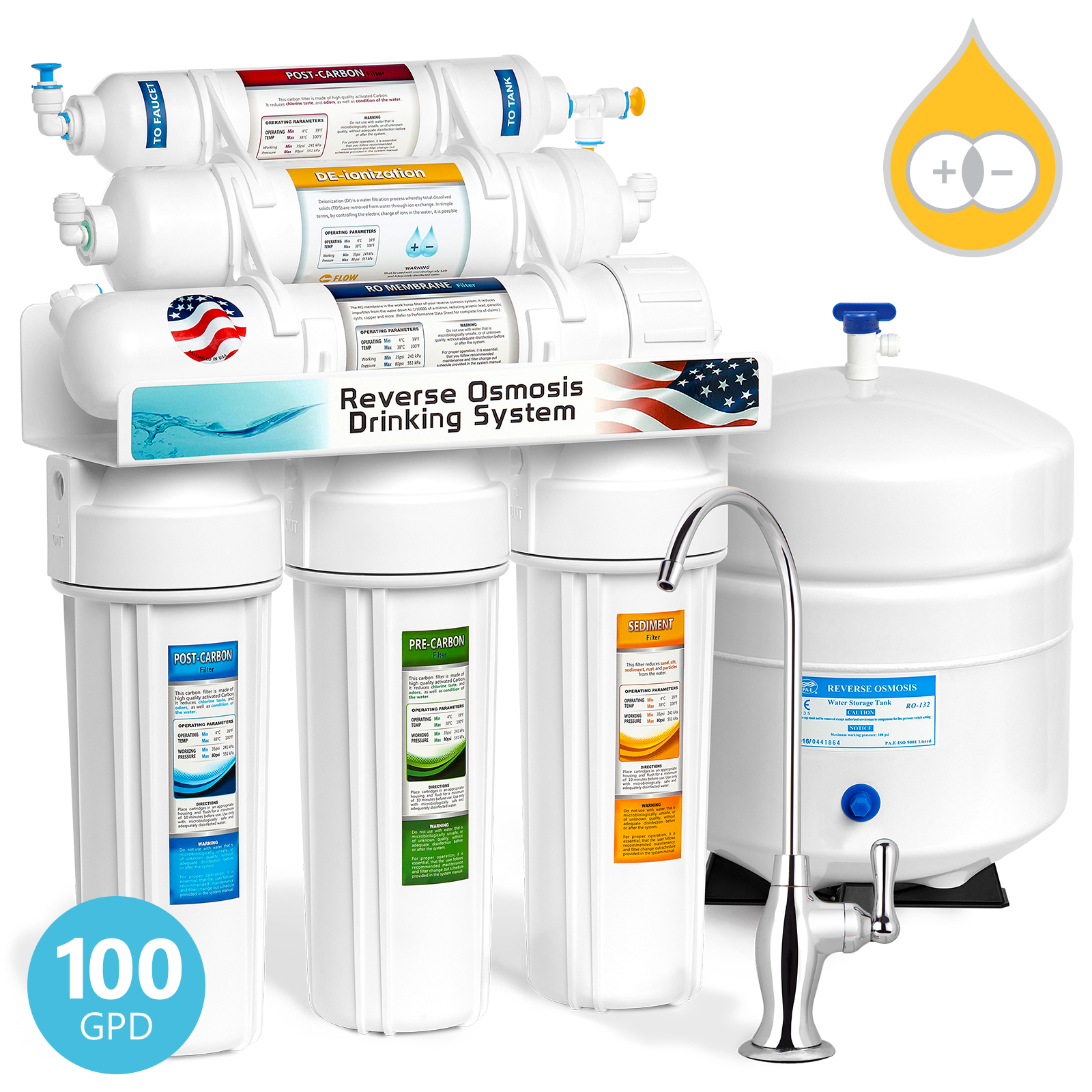 Express Water 6 Stage Deionization + Reverse Osmosis Water Filtration System 100 GPD RO Membrane DI Resin Mixed Bed Ion Exchange Filter Residential Home Under Sink Drinking Water Purification RODI10D