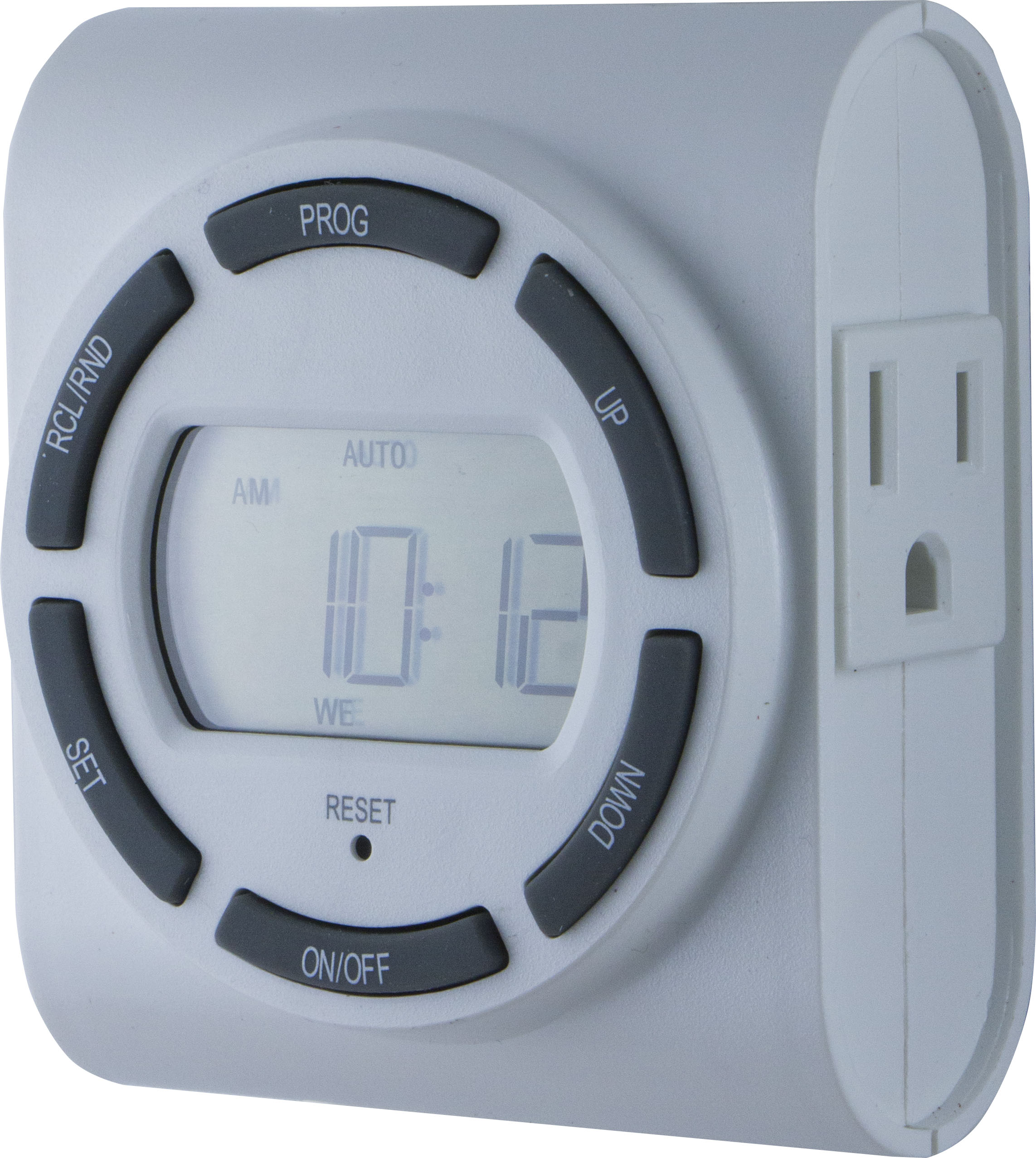 GE SunSmart 7-Day Indoor Plug-In Programmable Timer, 2-Outlet, Large Display, 15079