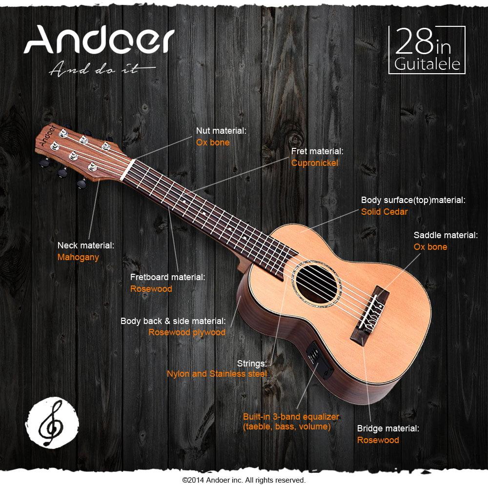 "Andoer 28"" Guitalele Guitarlele Guilele Travel Guitar Solid Cedar Rosewood Fretboard... by"