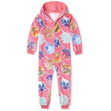 Girls Animal Print Onesie (Long sleeve all around unicorn printed pajama onesie (little girls & big)