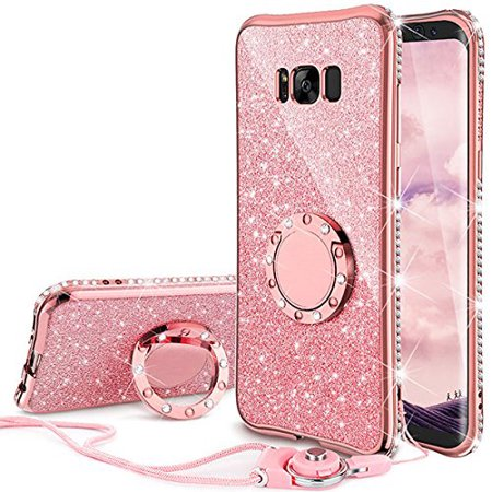 new style 71cf9 a4423 Galaxy S8 Case , Glitter Cute Phone Case Girls with Kickstand, Bling  Diamond Rhinestone Bumper Ring Stand Sparkly Luxury Clear Thin Soft  Protective ...