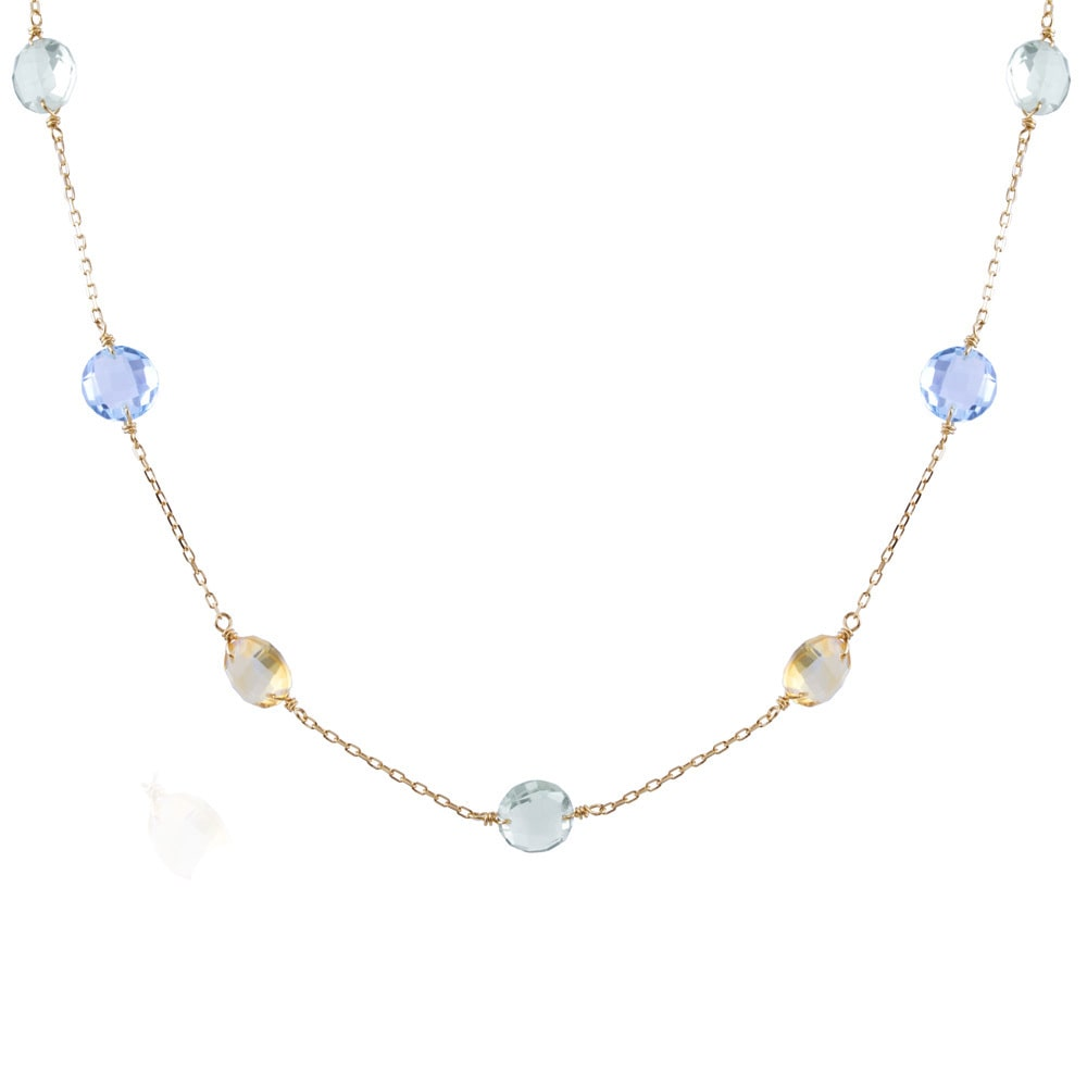 JewelMak 14k Yellow Gold Citrine, Blue Topaz, Green Amethyst Coin Cable-chain Necklace by Overstock