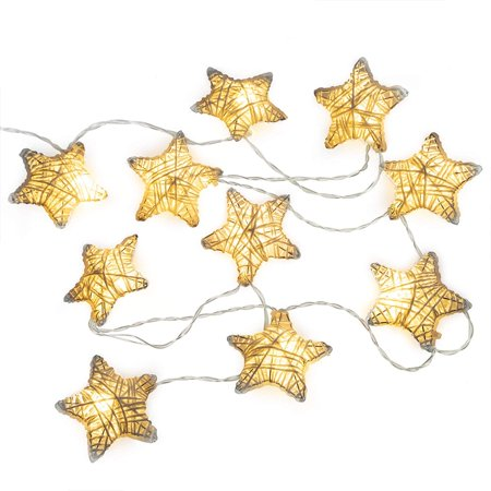 West Ivory 6 feet 10 LED String Fairy Light w/Metal Covered Stars Battery Powered Decorative Indoor Outdoor, Warm White - Led Decorative Lights