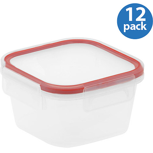 Snapware Airtight Plastic 1.3-Cup Square Food Storage Container, 12-Pack