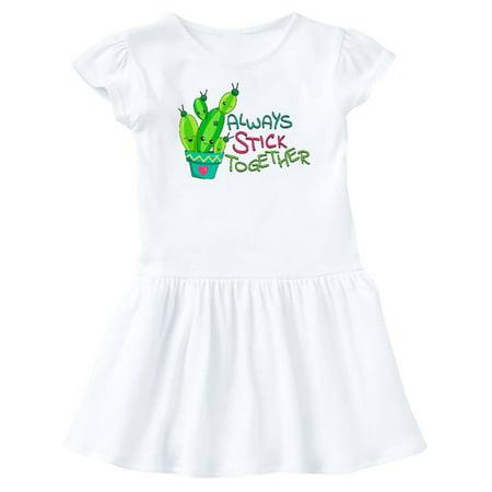 Always Stick Together- cute cactus Infant Dress Together Print Dress