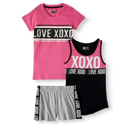 XOXO Sport Logo Graphic Tee, Tank and Short, 3-Piece Outfit Set (Little Girls & Big Girls)