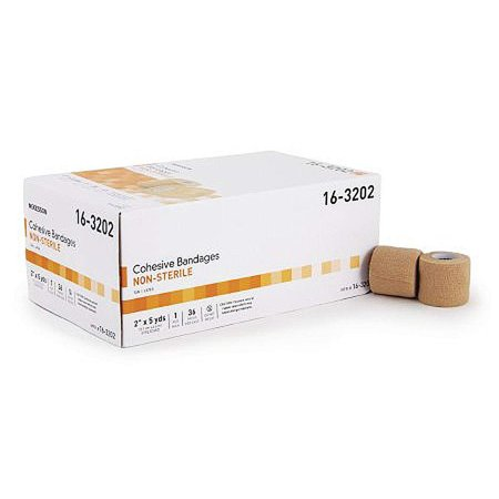Cohesive Single Face - 36 Pack of Cohesive Bandages 2 Inch X 5 Yard. Self-adhering Bandages to Hold dressings in Place. Single use, tan Color, Non-sterile.